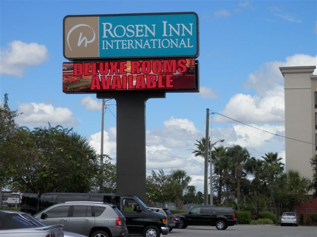 In Orlando, International Sign is ready to help you with your sign manufacturing needs or requirements. International Sign specializes in the design, manufacture, installation of Pylon Led Message Center Hotel Sign in all of Orange county, International Sign is ready to serve your banner sign needs. Here to serve you International Sign does business in Orlando in Orange county FL. Area codes we service include the  area code and the 32868 zip code.