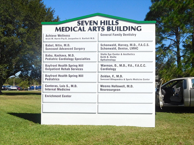 In Sarasota, International Sign is ready to help you with your led channel letter signs needs or requirements. International Sign specializes in the design, manufacture, installation of Medical Arts Directory Monument Sign in all of Sarasota county, International Sign is ready to serve your custom outdoor signs needs. Here to serve you International Sign does business in Sarasota in Sarasota county FL. Area codes we service include the  area code and the 